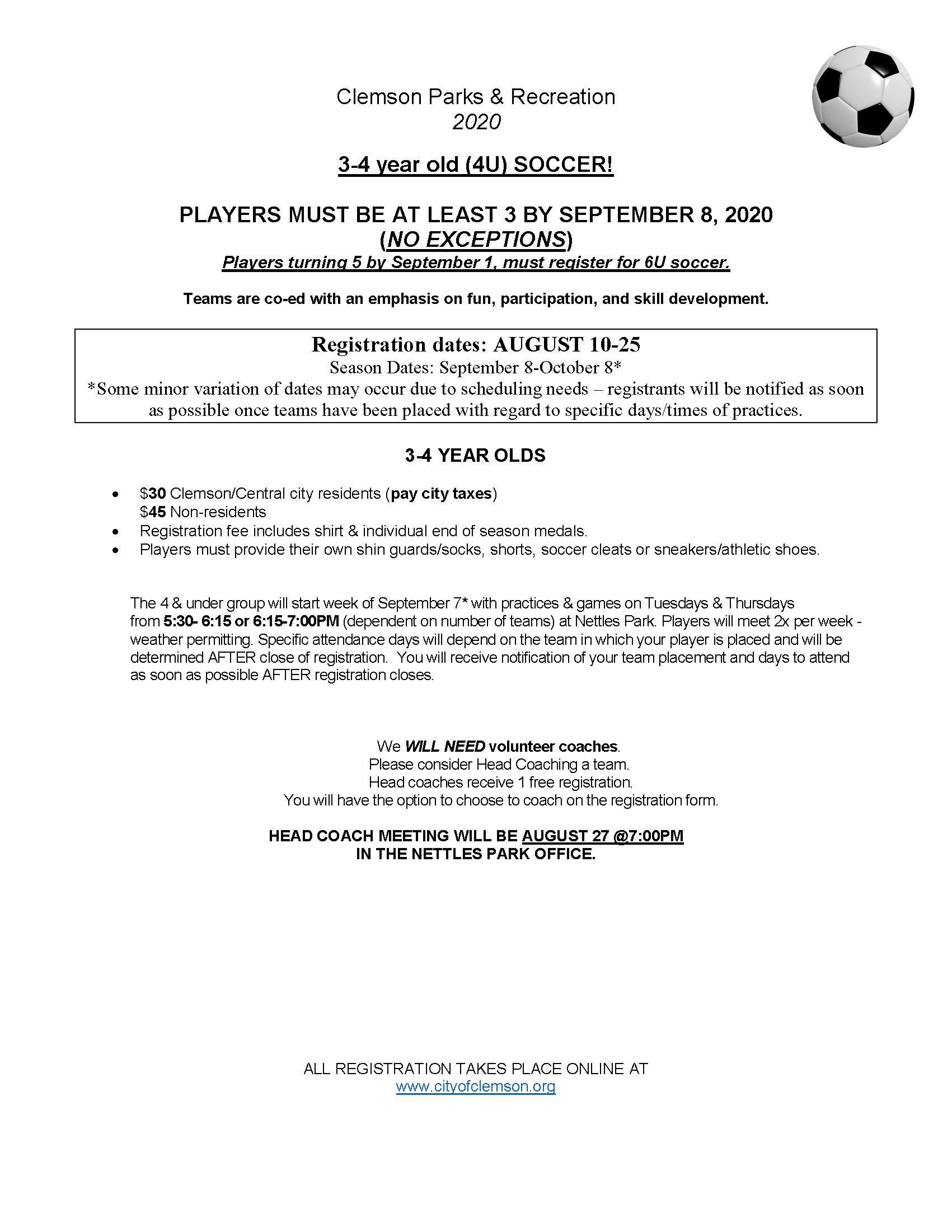 3-4 year old Soccer - Fall 2020 - informational flyer